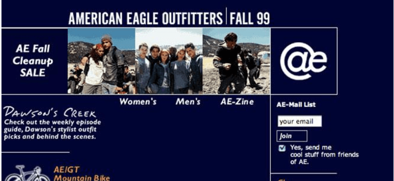 First Version of American Eagle Website