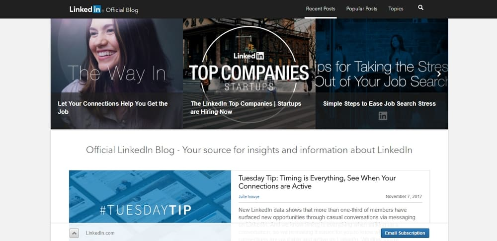 Official LinkedIn Blog uses WordPress