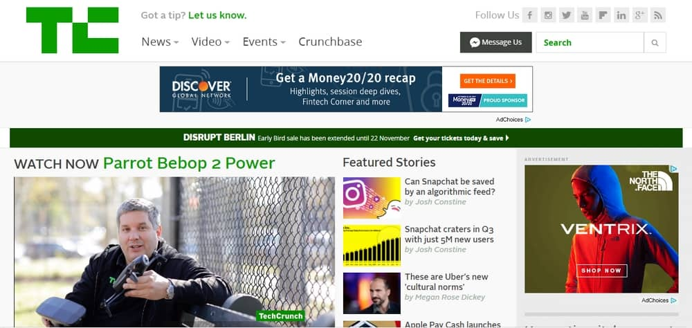 TechCrunch uses WordPress