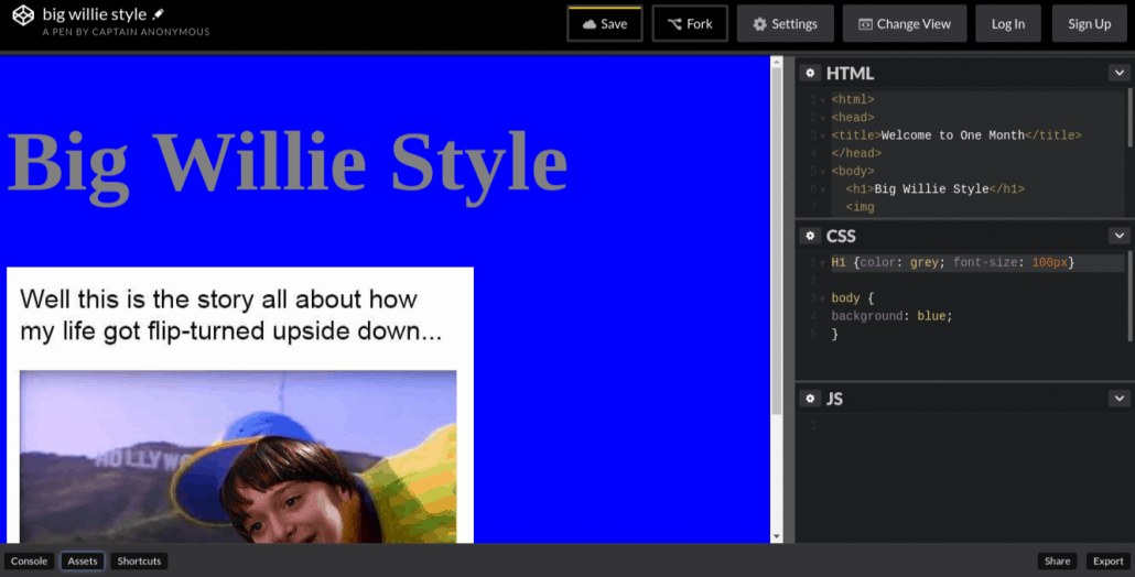 Learn HTML vs. CSS with a blue background