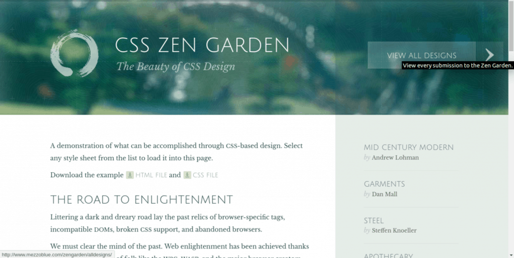 CSS examples with CSS Zen Garden
